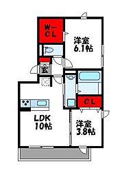 グリーンヒル 3階2LDKの間取り