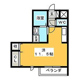 仮)D-room舳越 3階ワンルームの間取り