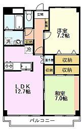 桜マンション 2階2LDKの間取り