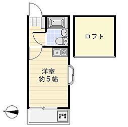 ライフアップ衣笠桜館[103号室]の間取り