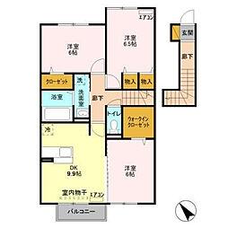 茨城県神栖市大野原中央2丁目の賃貸アパートの間取り