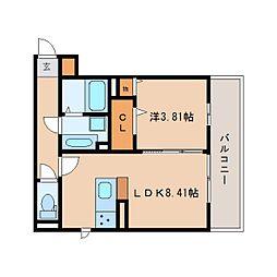 JR東海道本線 静岡駅 徒歩23分の賃貸アパート 3階1LDKの間取り