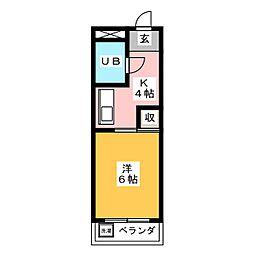 ハイツ岩崎 2階1Kの間取り