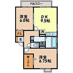 長崎県西彼杵郡長与町吉無田郷の賃貸アパートの間取り