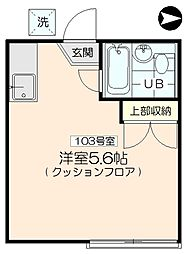 三軒茶屋アサカハイツB[103号室]の間取り