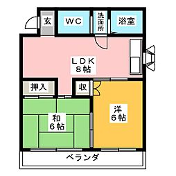 K&S徳重[3階]の間取り