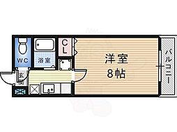 白鷺TKハイツ 3階1Kの間取り