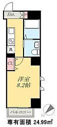 京成本線 お花茶屋駅 徒歩10分の賃貸マンション 8階1Kの間取り