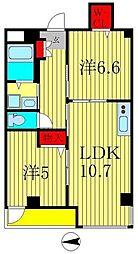 エピナール南流山 4階2LDKの間取り