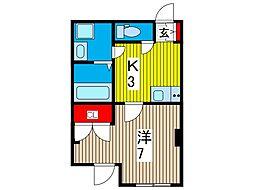 コスモプレイス東浦和[202号室]の間取り