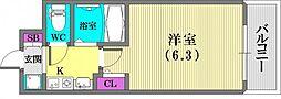 エステムコート新神戸エリタージュ[304号室]の間取り