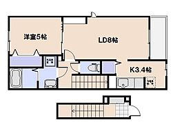 (仮)坪井2丁目アパート 2階1LDKの間取り