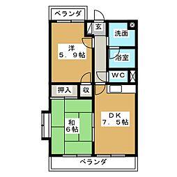 ペパー ミント ビレッジ[2階]の間取り