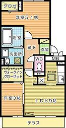 桜橋山荘[105号室]の間取り