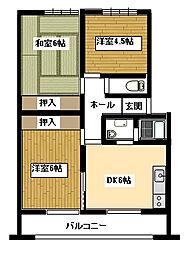 住吉中央マンション[201号室]の間取り