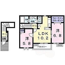 DK2 2階2LDKの間取り