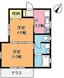 埼玉県上尾市大字今泉の賃貸アパートの間取り