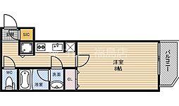 JR東西線 新福島駅 徒歩1分の賃貸マンション 3階1Kの間取り