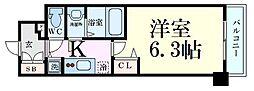 プレサンス大阪ゲートシティ 8階1Kの間取り
