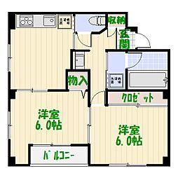 東京都葛飾区東堀切1丁目の賃貸マンションの間取り