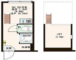 東京都新宿区高田馬場2丁目の賃貸アパートの間取り