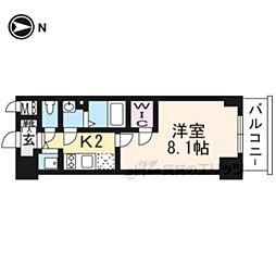 エスプレイス京都RAKUNAN706 7階1Kの間取り