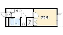 兵庫県西宮市学文殿町1丁目の賃貸アパートの間取り