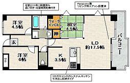 兵庫県宝塚市山本西2丁目の賃貸マンションの間取り