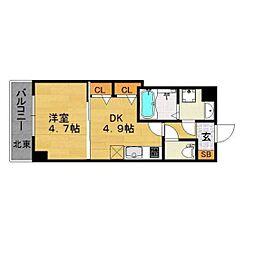 福岡市地下鉄空港線 赤坂駅 徒歩8分の賃貸マンション 5階1DKの間取り