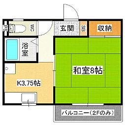 長野県松本市出川の賃貸アパートの間取り