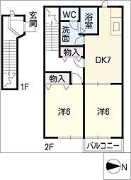 VILLA 若宮C[2階]の間取り