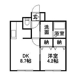 北海道札幌市南区澄川四条4丁目の賃貸マンションの間取り
