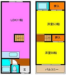 [一戸建] 大阪府東大阪市稲葉2丁目 の賃貸【/】の間取り