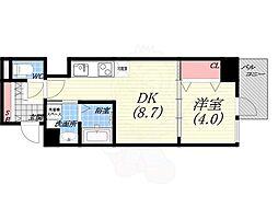 阪神本線 西宮駅 徒歩5分の賃貸マンション 4階1DKの間取り