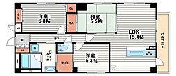 大阪府大阪市天王寺区清水谷町の賃貸マンションの間取り