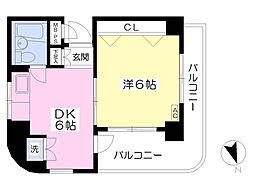 エクセレンス昭島 2階1DKの間取り