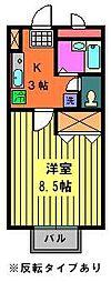 千葉県千葉市花見川区検見川町3丁目の賃貸アパートの間取り