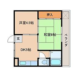 奈良県奈良市あやめ池南3丁目の賃貸マンションの間取り