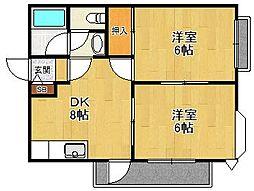 兵庫県尼崎市武庫之荘東1の賃貸マンションの間取り