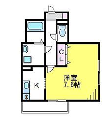 JR中央線 武蔵境駅 徒歩12分の賃貸マンション 3階1Kの間取り