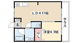 愛知県名古屋市南区本城町3丁目の賃貸アパートの間取り