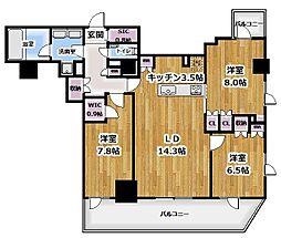 プライムアーバン新宿夏目坂タワーレジデンス 28階3LDKの間取り