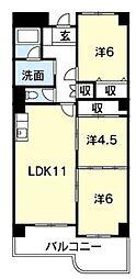 徳島県徳島市福島1丁目の賃貸マンションの間取り