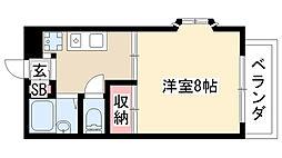 愛知県名古屋市天白区植田2丁目の賃貸アパートの間取り
