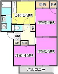 エクセル岸 B[1階]の間取り