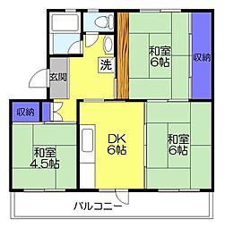 高津団地1−22[305号室]の間取り