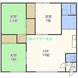 北海道札幌市東区北十五条東7丁目の賃貸アパートの間取り