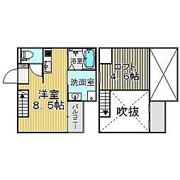 愛知県名古屋市中川区高畑5の賃貸アパートの間取り