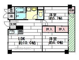 千里桃山台セントポリア[2階]の間取り
