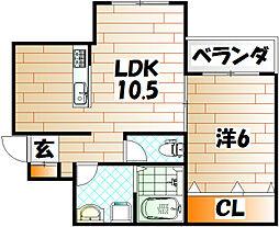福岡県北九州市小倉北区緑ケ丘1の賃貸アパートの間取り